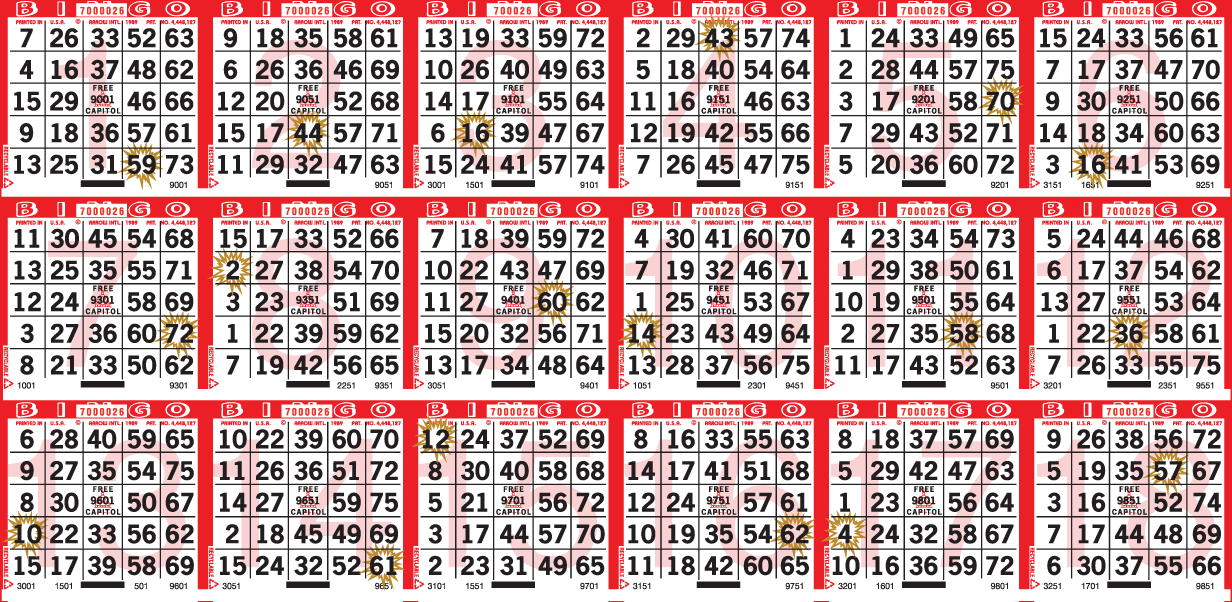 Jackpot Starburst Bingo Paper