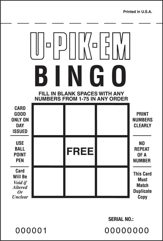 U-PIK-EM Bingo - 1 Free Space