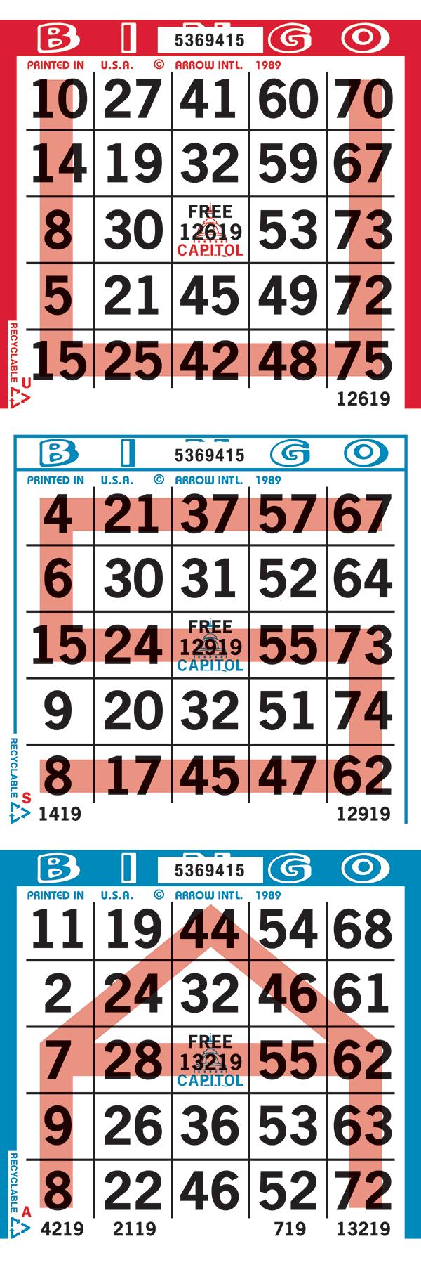 USA Pattern Bingo Paper